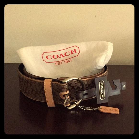 Coach Accessories - NWT Coach Brown Jacquard Monogram Belt (M)